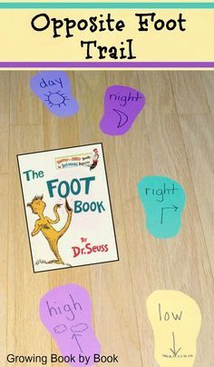 Opposite foot trail activity perfect for Dr. Seuss celebration from http://growingbookbybook.com