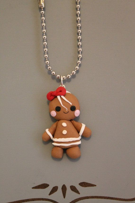 Gingerbread Lady Charm,Clay Christmas Charm,Polymer Clay charm,Clay Pendant,Cookie,Minature Food,Holiday Charm,Polymer clay figure,Kawaii