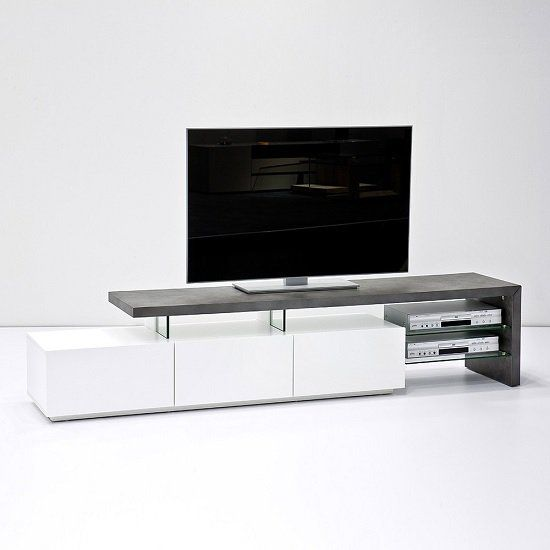 . Alanis Modern TV Stand In Concrete And Matt White With Storage in