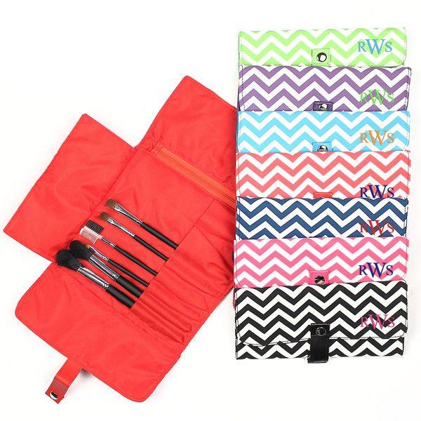 Chevron Makeup Roll Brush Set