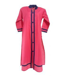 Cotton Solid Women's Kurta - Pink