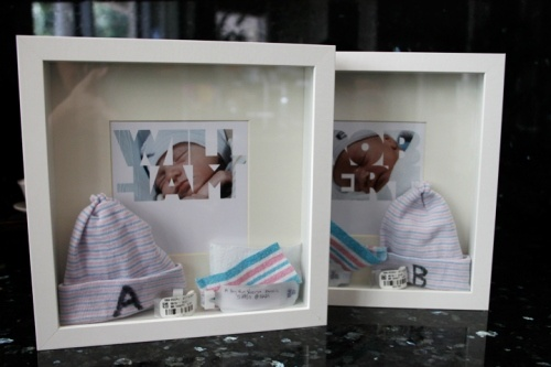 Love this idea for those few keepsakes they have sitting around from Jeremiah's' birth!