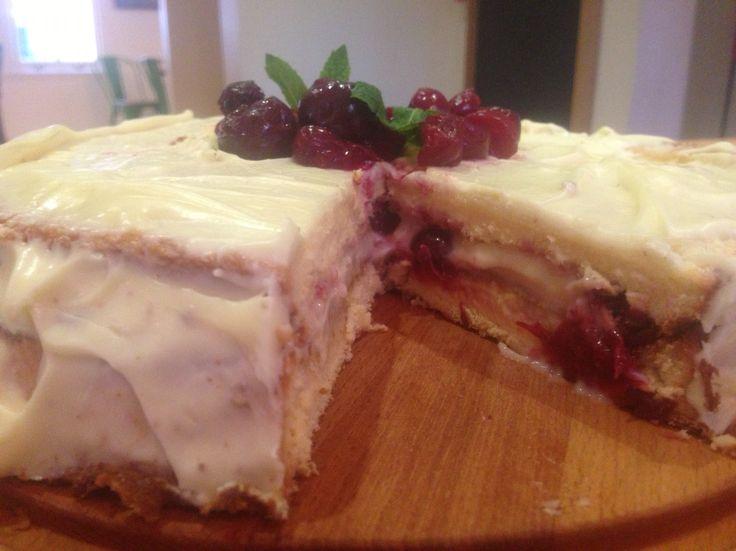 White chocolate & cherry birthday cake