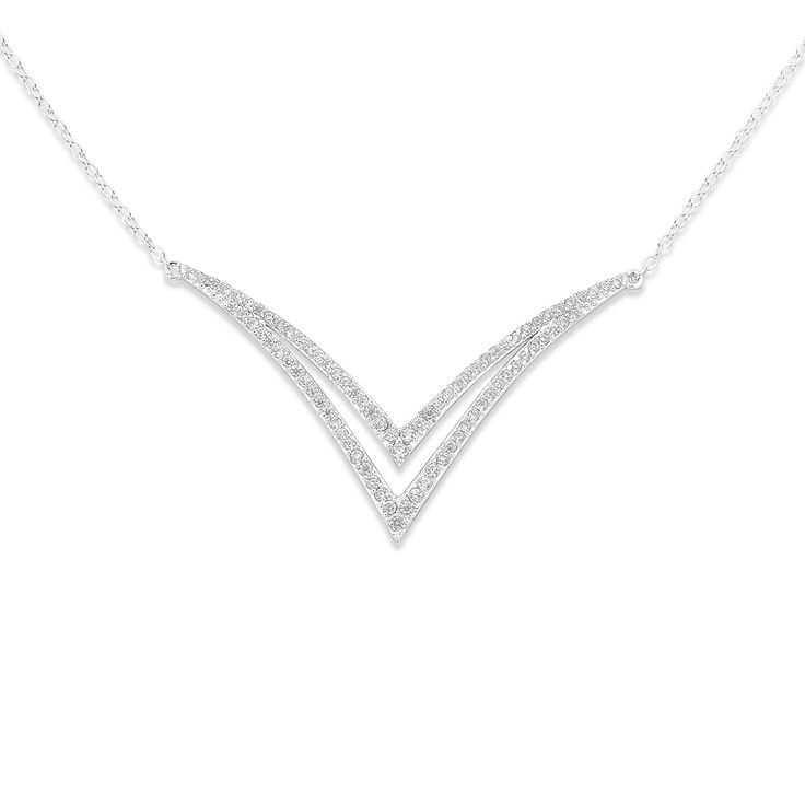Sterling Silver Cubic Zirconia Curved Necklet - Pascoes The Jewellers