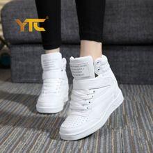 Novo 2017 primavera outono ankle boots de salto sapatos mulheres sapatos casuais altura aumento botas de Inverno de alta top sapatos de cores misturadas alishoppbrasil