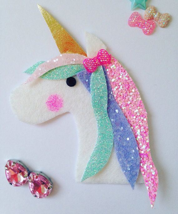 Unicorn's Dream Glitter Fabric Wool Felt Hair Clip or Headband