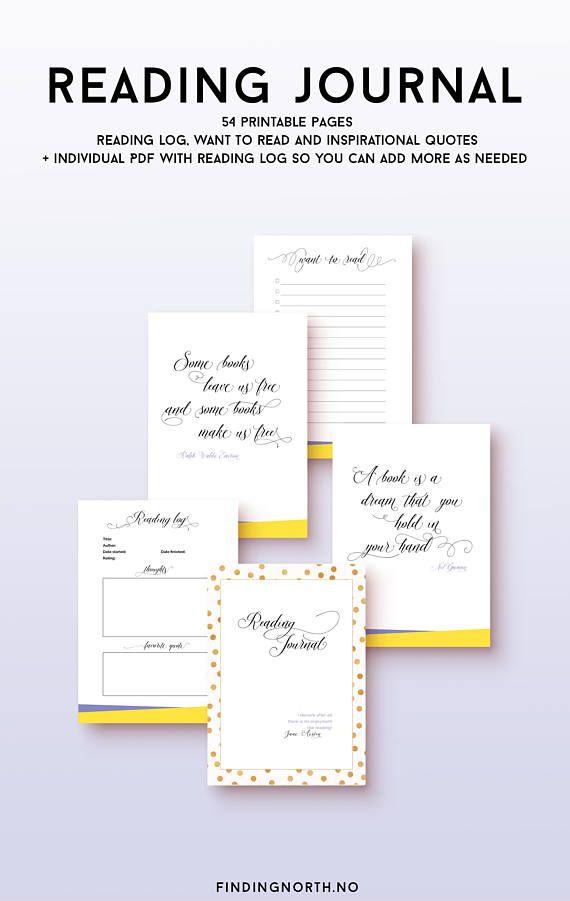 Printable Reading Journal digital download printable reading