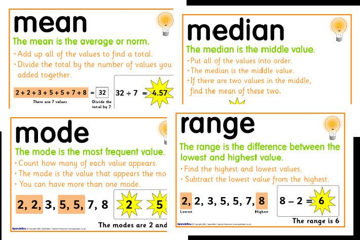 Hey diddle diddle, the median's the middle; you add and divide for the mean.  The mode is the one that appears the most, and the range is the difference between!