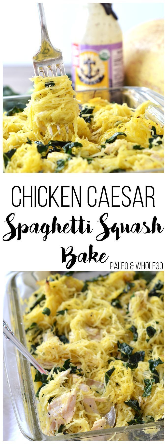 This Chicken Caesar Spaghetti Squash Bake is the perfect quick and healthy weeknight meal! Paleo & Whole30 approved!