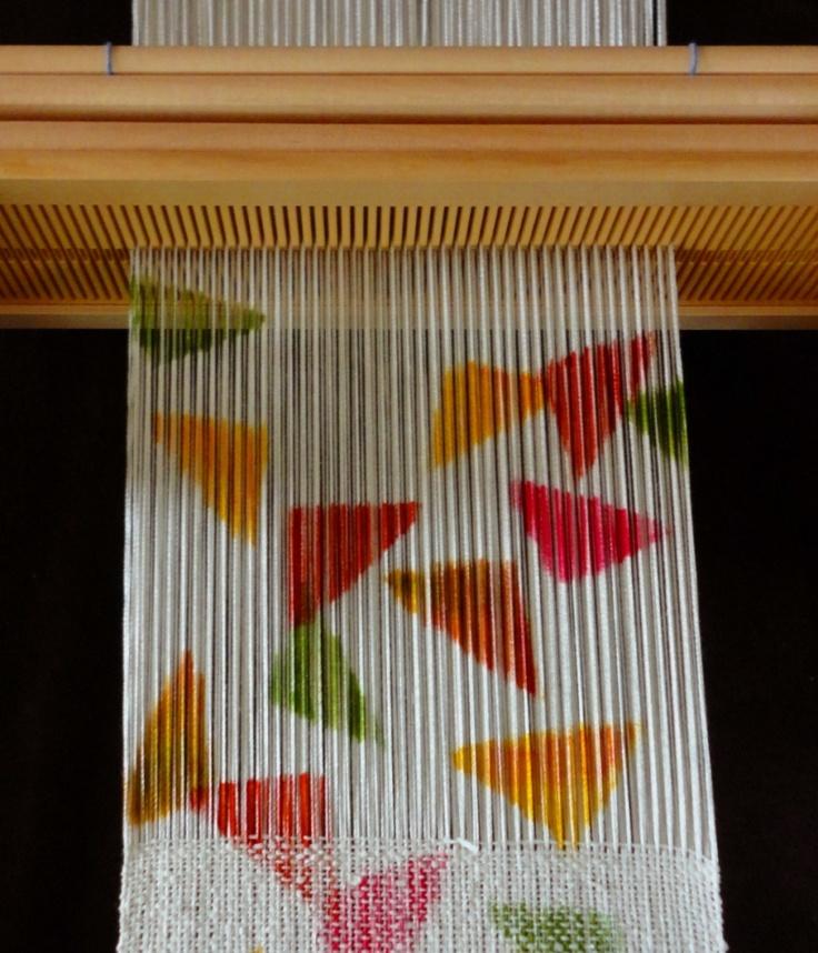 Dyed silk warp shifu sample on Quad rigid heddle loom