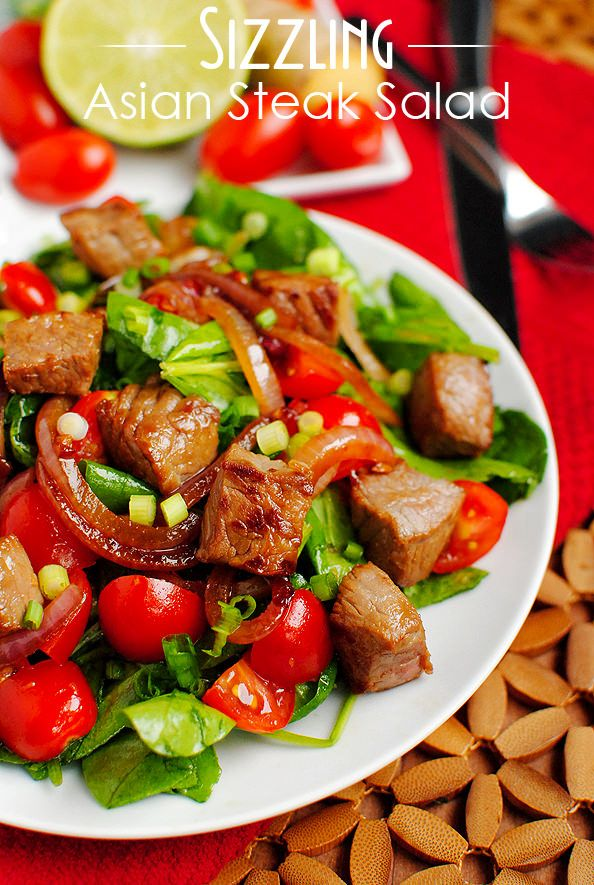Sizzling Asian Steak Salad. Prepare without the honey or brown sugar and you have a challenge friendly salad. yummy!