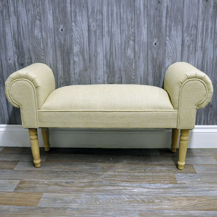 Linen Plain Window Seat Ottoman Antique Shabby Chic Chaise Bench Bedroom | eBay