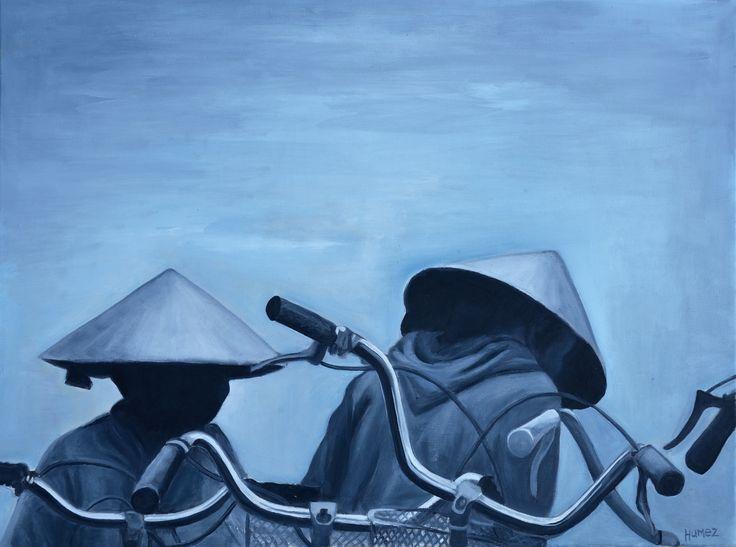 HOÏ AN Huile sur toile  d'après carnet de voyage VIET NAM