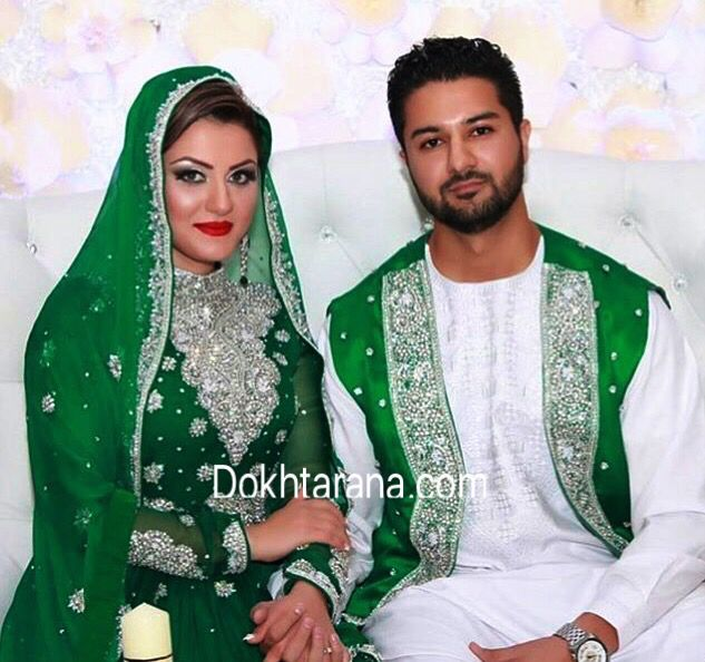Afghan Wedding Gowns: #afghan #wedding #nekah #dress #couple #green