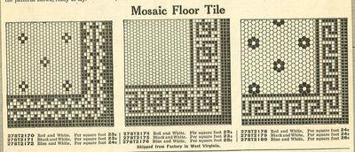 Mosaic floor tile designs from 1910 Ward's Plumbing catalog.