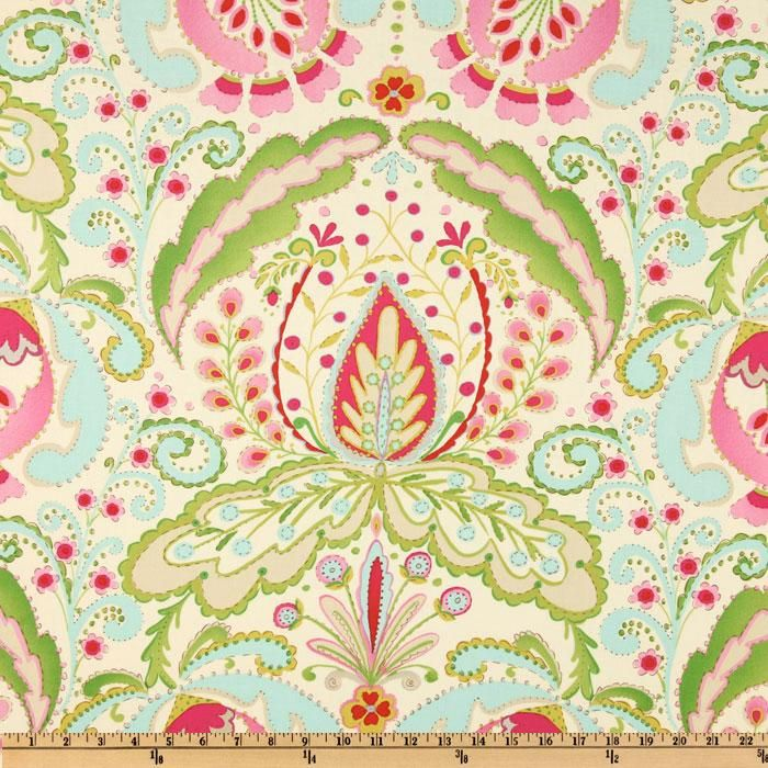 Kumari Garden Teja Pink/Multi from @fabricdotcom  Designed by Dena Designs for Free Spirit, this cotton print fabric is perfect for quilts, home décor accents, craft projects and apparel. Colors include red, light pink, lime, beige, aqua and fuchsia.