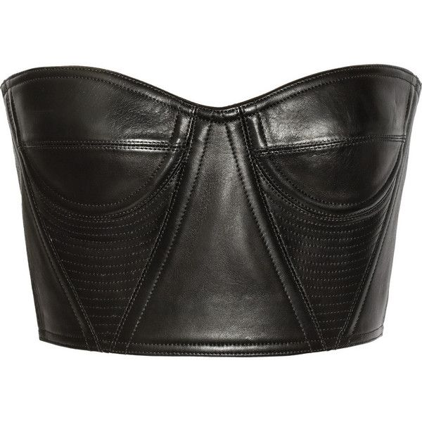 Balmain Cropped underwired leather bustier ($986) ❤ liked on Polyvore featuring tops, shirts, crop tops, bustier, black, bustier tops, black crop top, leather shirt, black shirt and black bustier