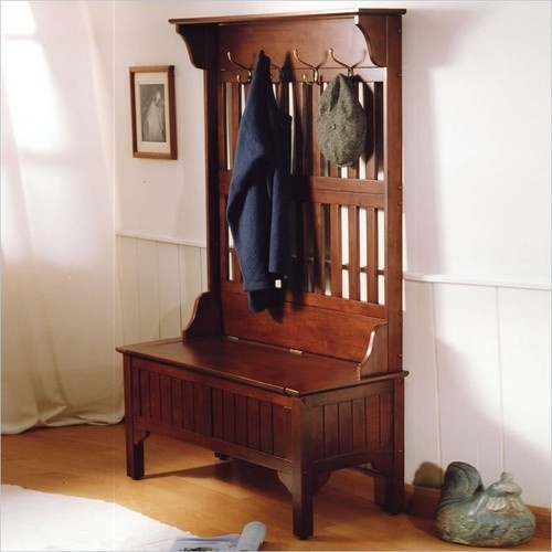 Entryway hall tree coat rack with storage bench in cherry Mudroom bench and coat rack