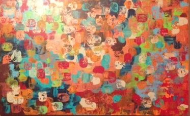 Colour in motion. Abstract. Acrylic on canvas. 180cm x 100cm. Sold.