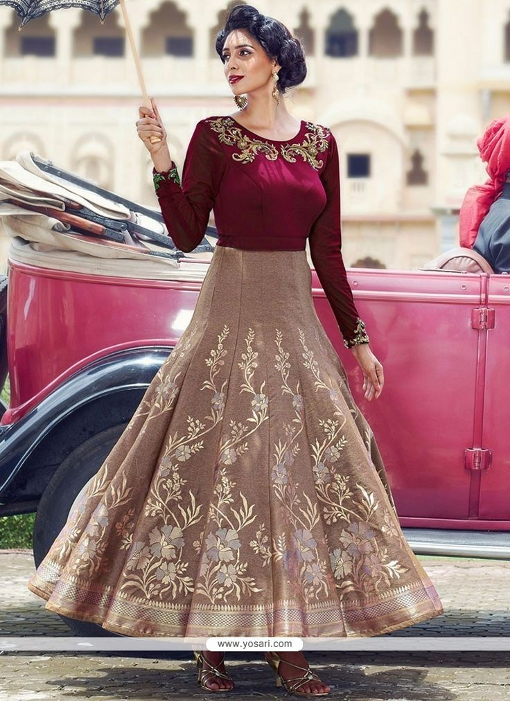 Sonorous Jacquard Digital Print Work Readymade Anarkali Suit Model: YOS9302