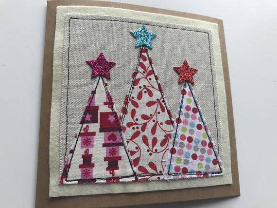 Christmas tree card Christmas card Applique Christmas card