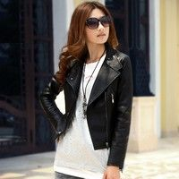 Autumn new arrival female leather apparel  female short design slim PU Women's leather jacket, motor