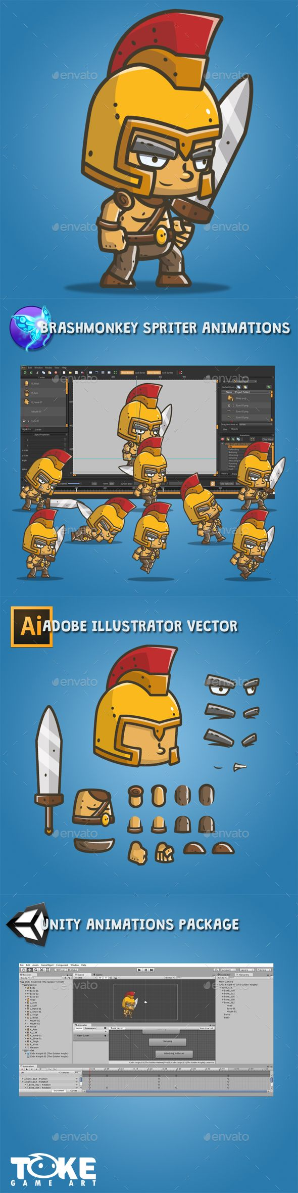 Chibi Knight – The Golden Helmet - Sprites #Game Assets Download here: https://graphicriver.net/item/chibi-knight-the-golden-helmet/18177395?ref=alena994