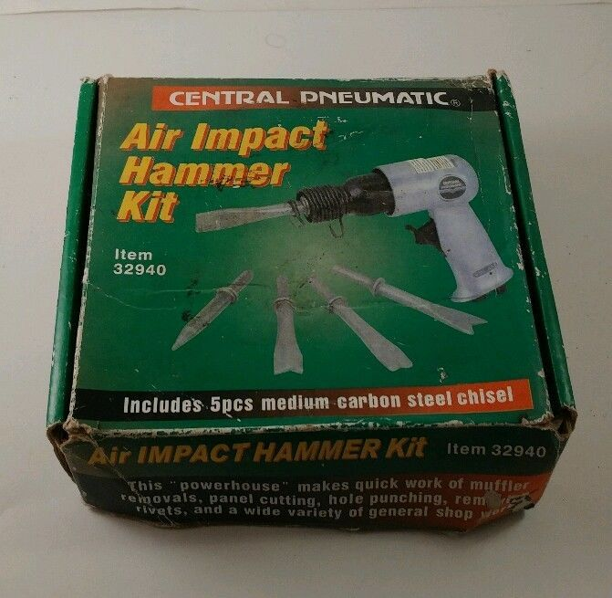 Air Impact Hammer Kit Central Pneumatic 32940 w/5 chisels   #CentralPneumatic