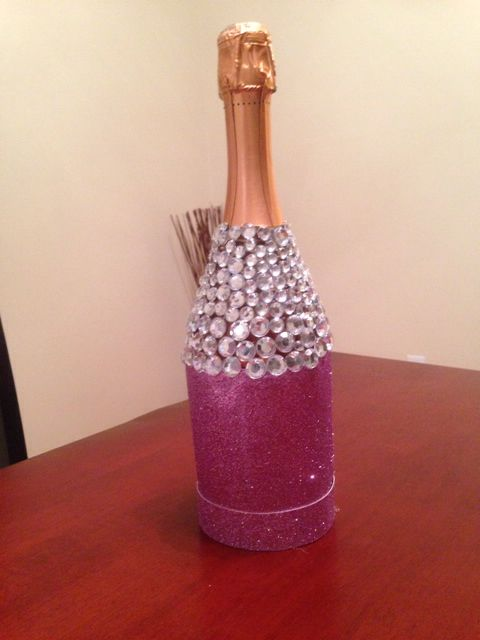 Wine bottle with glitter and bling!