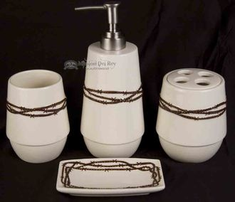 western barb wire bathroom accessory set b6