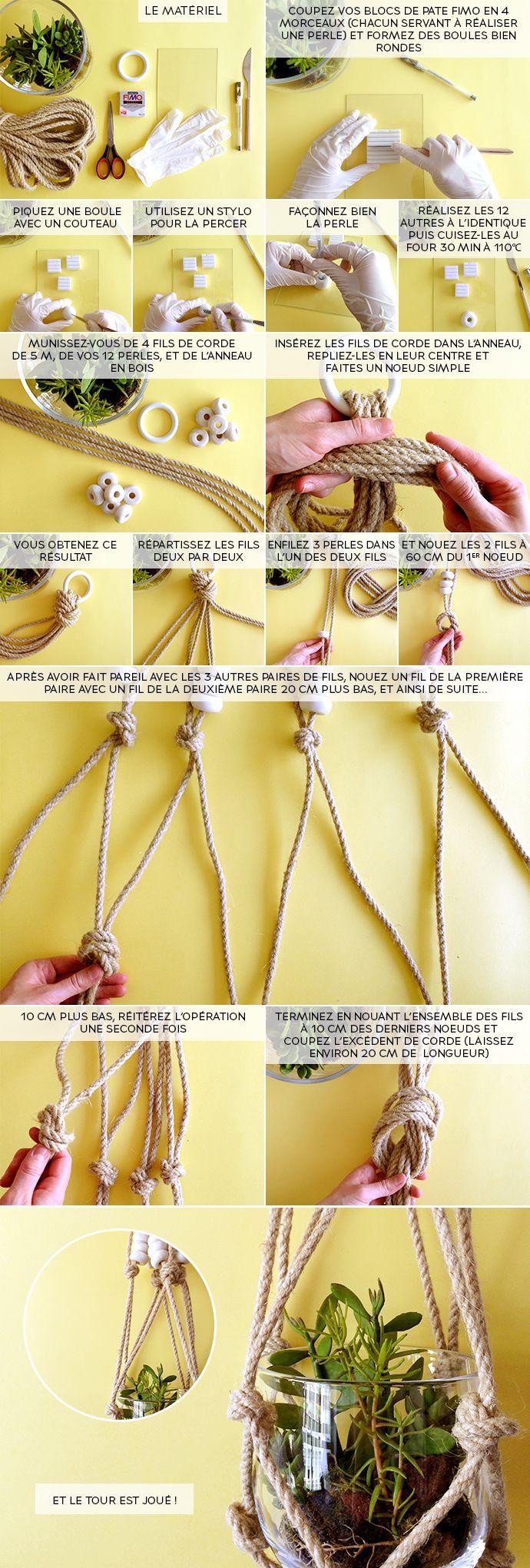 Créez une suspension en corde et perles pour plante