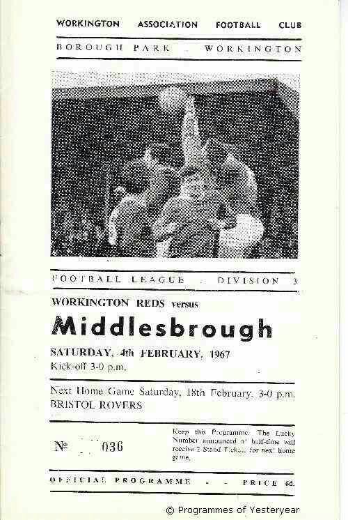 Workington 1 Middlesbrough 2 in Feb 1967 at Borough Park. The programme cover #Div3