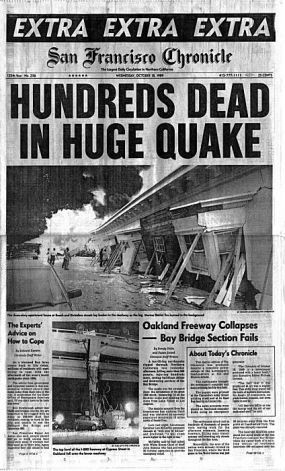 A career highlight of my time at the San Francisco Chronicle was Oct. 18, 1989, and the 7.1 Loma Prieta Earthquake. (The dead count was later revised to about 70.)  We produced a couple days of papers with no electricity, but a portable generator powering the Art department's Macintosh computers. The Bay Bridge between work and my home in the East Bay was knocked out.