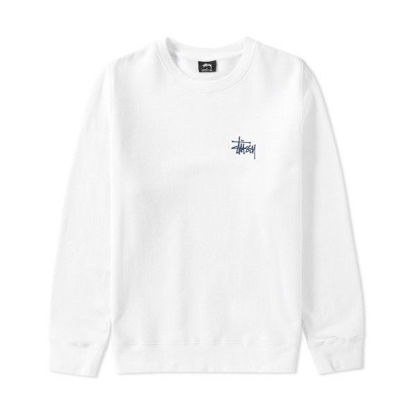 Stussy Basic Crew Sweat (White & Navy) ❤ liked on Polyvore featuring tops, hoodies, sweatshirts, navy and white top, stussy, stussy tops and stussy sweatshirt