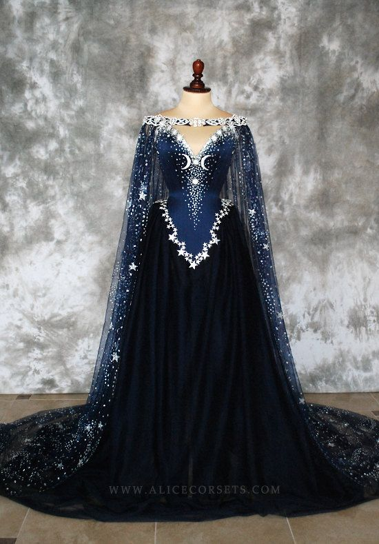 Night Goddess Elven Corset Dress ~ Gothic Witch Wedding Gown Fairy Fantasy Bridal Dress Wicca Pagan Couture ~ Ball Masquerade Celestial Cape