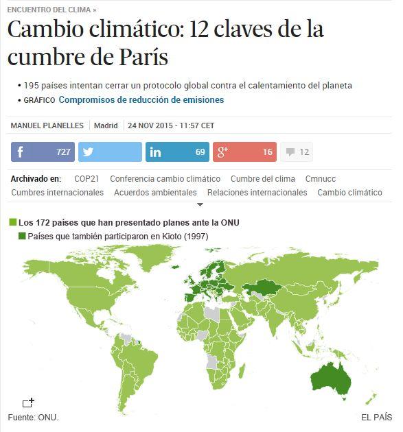 Cambio climático: 12 claves de la cumbre de París / @el_pais | #readyforclimatechange