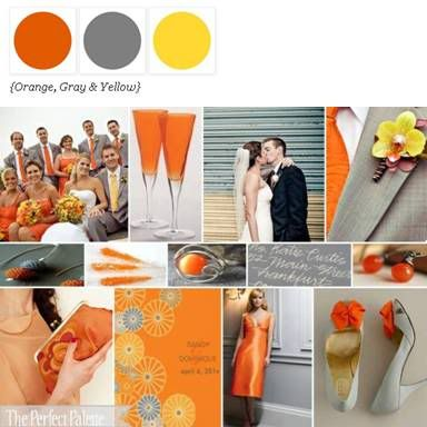 The Perfect Palette: {A Citrus Soiree}: Shades of Orange, Gray, Yellow + White: Wedding Inspiration, Orange Grey, Wedding Ideas, Orange Weddings, Wedding Colors, Dream Wedding, Color Palette