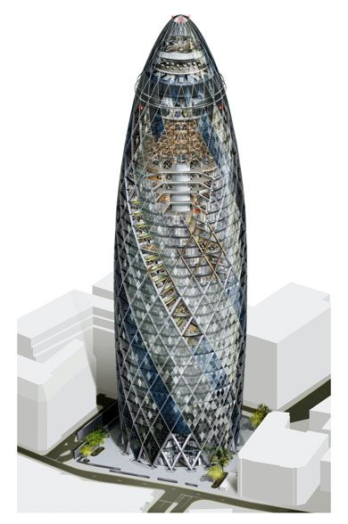 Swiss Re Headquarters, 30 St Mary Axe (The Gherkin) (London, UK 1997-2004) | Foster + Partners