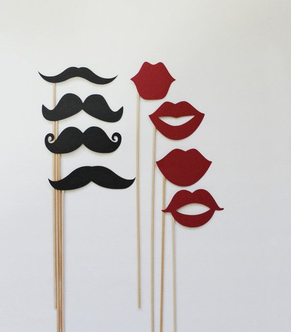 PhotoBooth Mustchase and Lips Props. Photo Booth Mustache and Lips Photo Props. Set of 8 on Etsy, $16.00