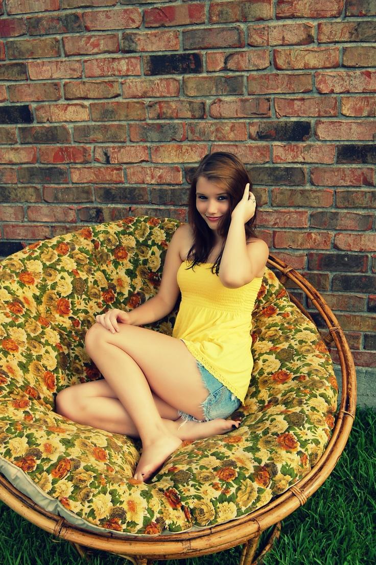 #yellow #papasan Chair #flowers #girl #hot #pretty #beautiful #