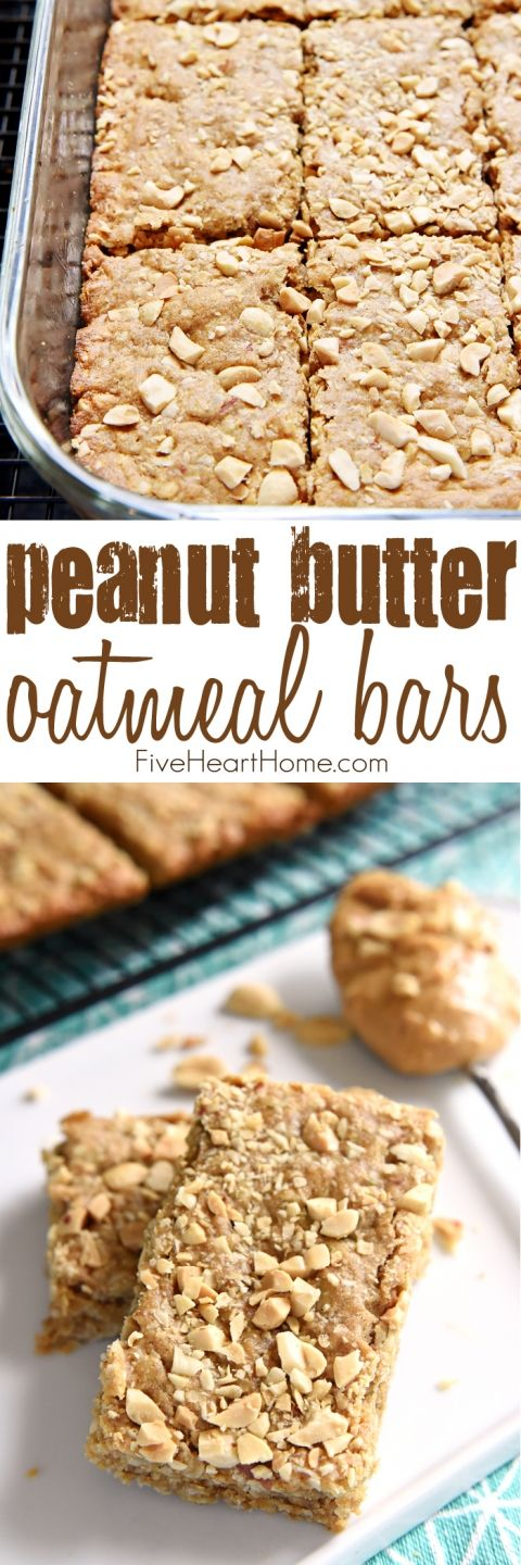 Peanut Butter Oatmeal Bars ~ loaded with wholesome oatmeal and whole wheat flour, flavored with peanut butter, and sweetened with honey, these soft-baked oatmeal bars make a yummy, on-the-go breakfast or snack!   FiveHeartHome.com