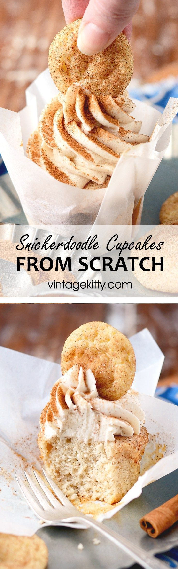 Cinnamon wins the day with these beautiful cookie topped Snickerdoodle Cupcakes! Just in time to wish vintagekitty.com a happy birthday! #cupcakes #snickerdoodles #cinnamon #baking