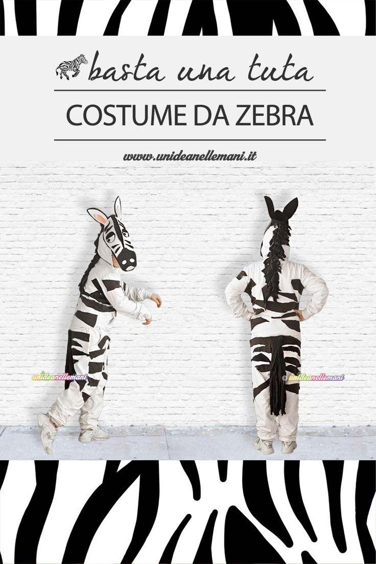 Tutorial per fare un costume da zebra utilizzando una semplice tuta da ginnastica e sagome di pannolenci. Adatta a tutti anche senza saper cucire.