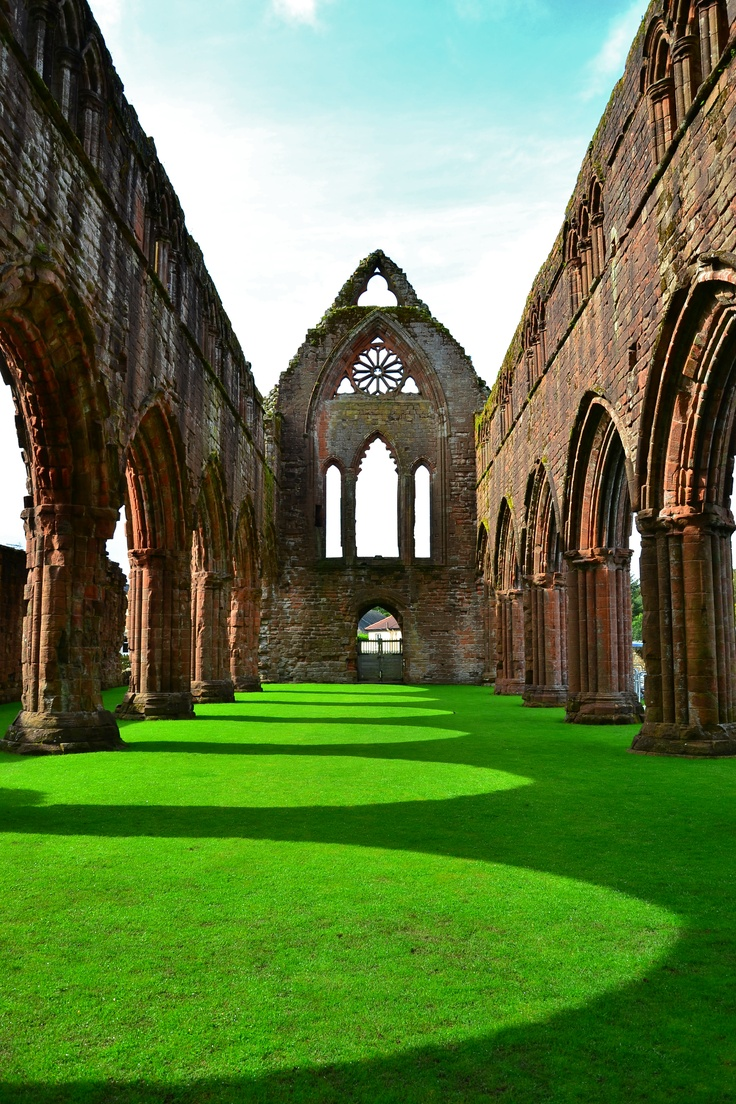 Sweetheart Abbey Scotland, and yes, the grass really was that green!