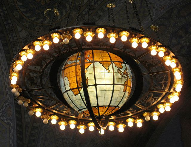 The solar-system chandelier was modeled by Lee Lawrie.                                                                                                                                                                                 More