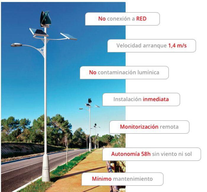 Primer sistema autónomo de alumbrado público alimentado con energía solar y eólica.