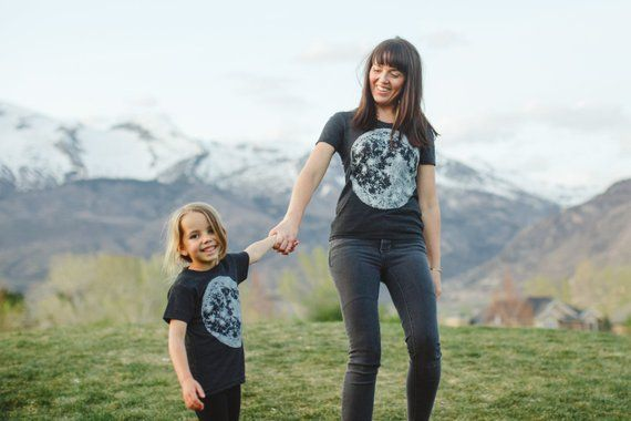 Matching Tees Moon Shirts, Unique Gifts Mom and Baby, Celestial Outer Space Tshirts, Mommy and Me Ou