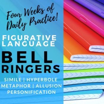 These figurative language bell ringers provide practice identifying, defining, and using similes, metaphors, hyperbole, allusion, and personification! This product includes 20 engaging bell ringer activities that can be used with any unit. The examples of figurative language included are from prose, poetry, and plays!