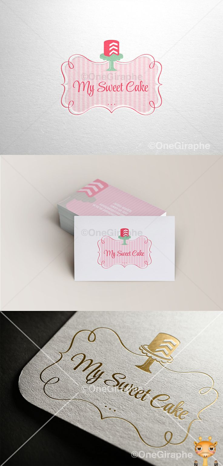 Branding for Cake, Cupcake & Bakery for sale! Logo ( color variations and black / white ) + business card design ( 2 sides ) as bonus. Format files: eps, pdf, png, jpg or any other at request. Order now at: onegiraphe@gmail.com     www.One-Giraphe.com #cake #logo #bakery #stand #pink #logo #design #sale #logostore #stocklogos #logopond #behance #brand #identity #brandidentity #graphic #graphicdesign #designer #gold #classic