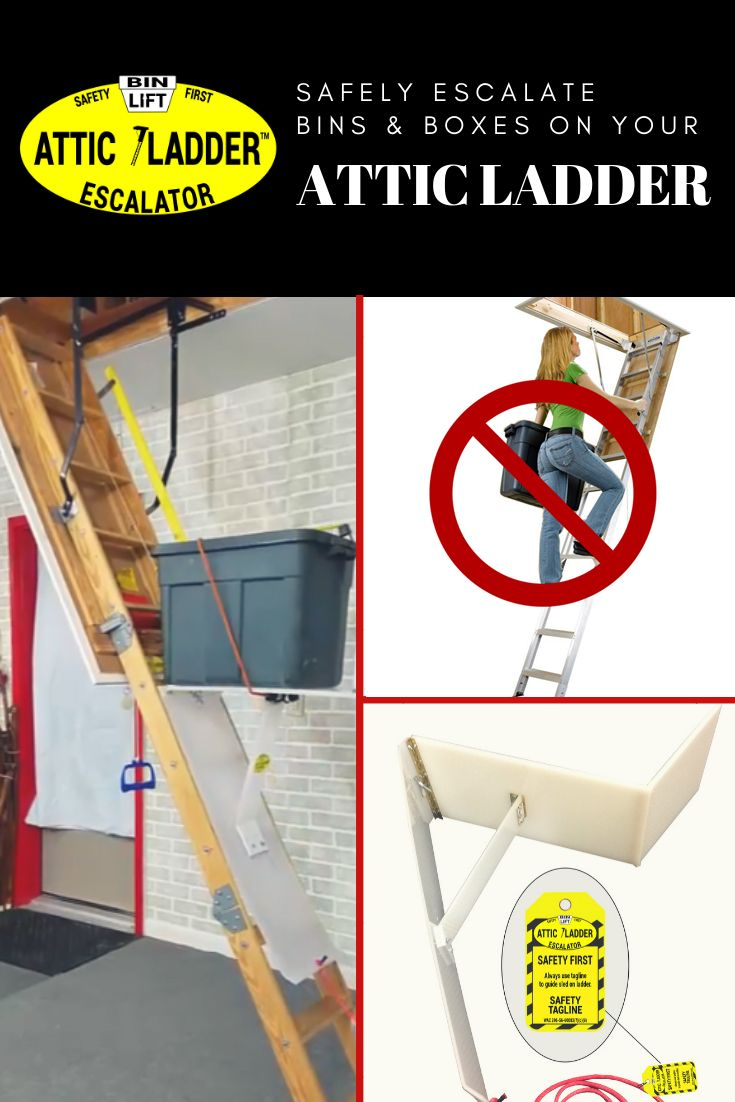 Safely Transport Your Storage Bins And Boxes With The Attic Ladder Lift Escalator Featuring Remote Controlled Motorized Sled Attic Ladder Ladder Attic Lift